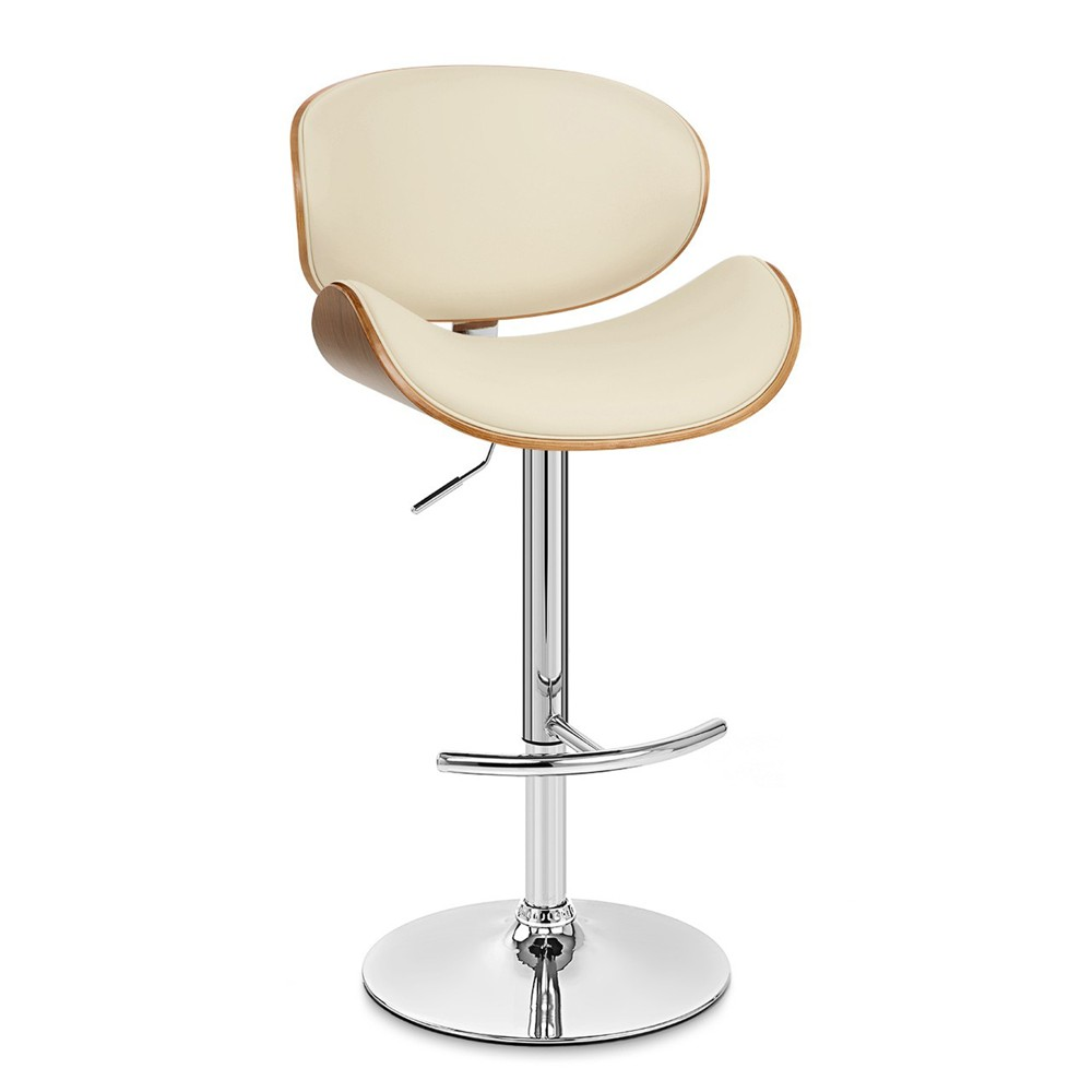 Naples Swivel Barstool in Chrome finish with Cream Faux Leather and Walnut Veneer Back - Armen Living, White