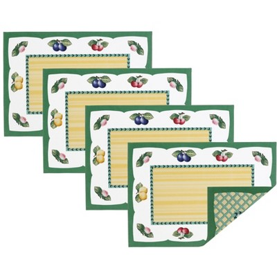 """Villeroy & Boch - French Garden Cotton Fabric Reversible Placemat Set of 4 - 14"""" x 20"""""""
