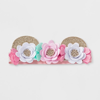 Baby Girls' Bear Ears Headband - Cloud Island™ Pink