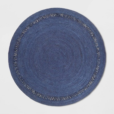 6' Solid Braided Round Area Rug Navy - Opalhouse™