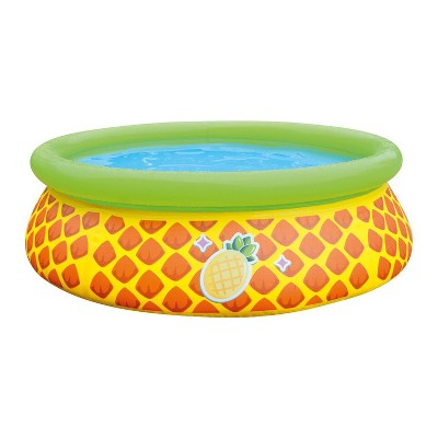 JLeisure Sun Club 17789 5 Foot x 16.5 Inch 1 to 2 Person Capacity Pineapple 3D Kids Above Ground Inflatable Outdoor Backyard Kiddie Swimming Pool