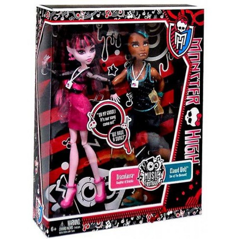 Monster High Music Festival Draculaura and Clawd Wolf 10.5-Inch Doll 2-Pack - image 1 of 2