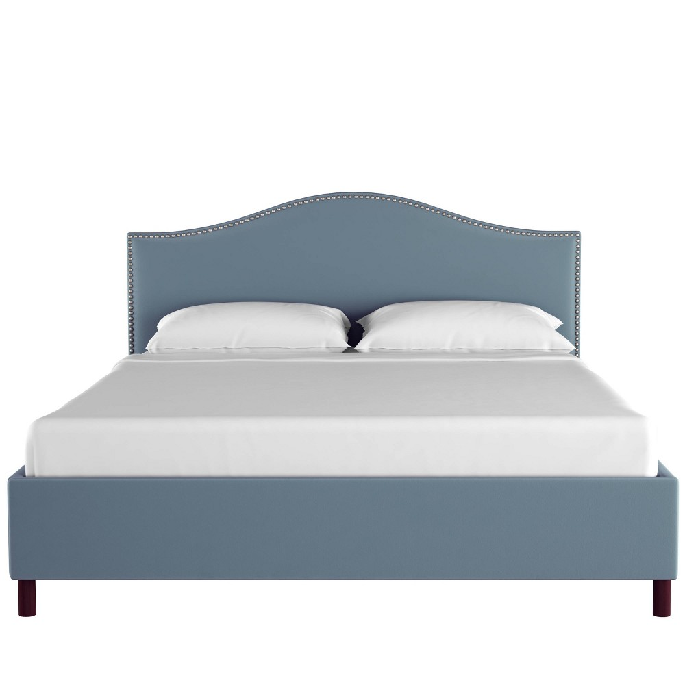 Full Nail Button Platform Bed in Velvet Ocean Blue - Skyline Furniture