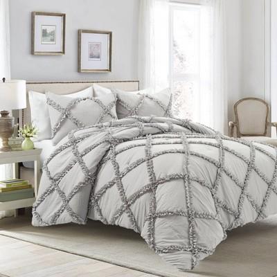 Lush Decor King 3pc Ruffle Diamond Comforter & Sham Set Light Gray