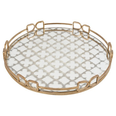 Mirrored Decorative Tray With Quatrefoil Design Gold Target
