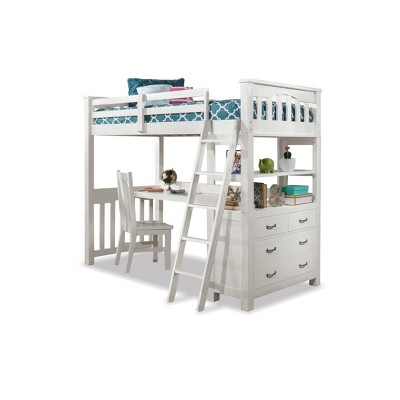 Twin Highlands Loft Bed with Desk and Hanging Nightstand White - Hillsdale Furniture