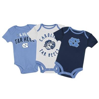 NCAA North Carolina Tar Heels Baby Boys' 3pk Bodysuit Set