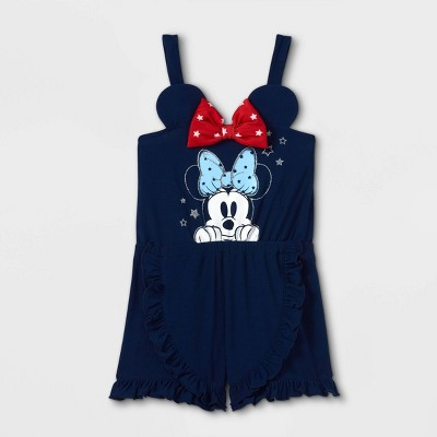 Toddler Girls' Minnie Mouse Americana Knit Sleeveless Romper - Navy