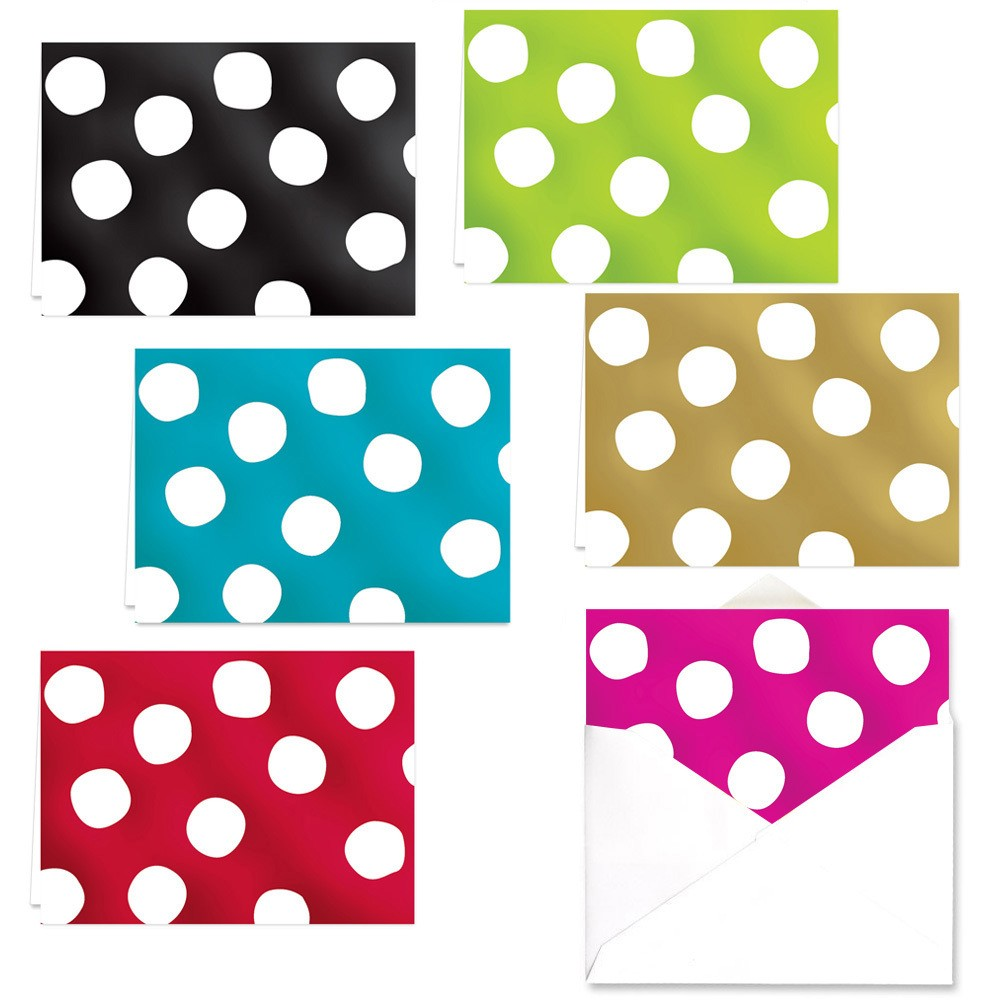 Image of 24ct Foil Dotted Note Card Set - Canopy Street