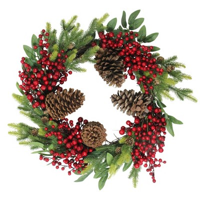"""Northlight 22"""" Unlit Artificial Pine Cone, Red Berry, and Pine Sprig Christmas Wreath"""