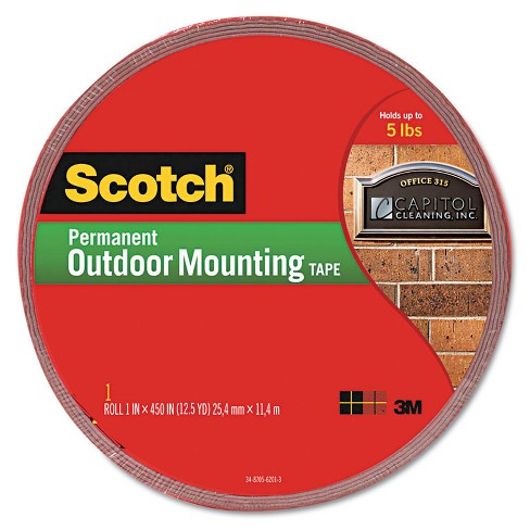 Scotch 4011LONG Exterior Weather-Resistant Double-Sided Tape, 1-Inch x 450-Inch , Gray MMM4011LONG - image 1 of 1