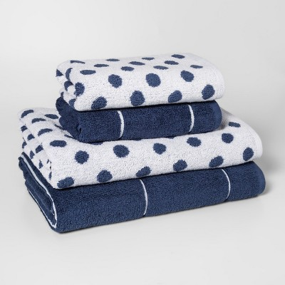 Woven Pattern Bath Towel Set Blue - Project 62™