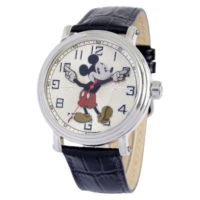 Men's Disney Mickey Mouse Strap Watch - Black