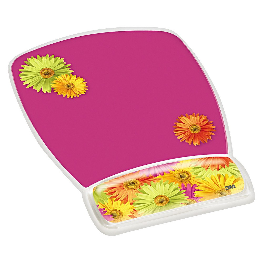 Image of 3M Fun Design Clear Gel Mouse Pad Wrist Rest, 6 4/5 x 8 3/5 x 3/4, Daisy Design, Pink