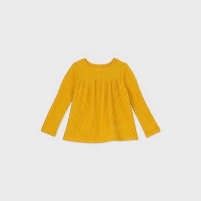 Toddler Girls' Cozy Waffle Long Sleeve T-Shirt - Cat & Jack™ Mustard Yellow 5T