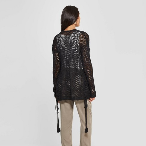 e6a89f5031a2 Women s Long Sleeve Open-Front Cardigan With Side Ties - Knox Rose™ Black    Target