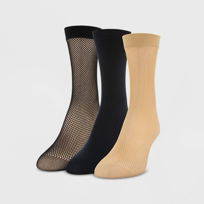 Peds Women's Fishnet and Opaque 3p Anklet Trouser Socks - Nude/Black 5-10