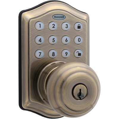 Honeywell Electronic Entry Knob Door Lock- Antique Brass