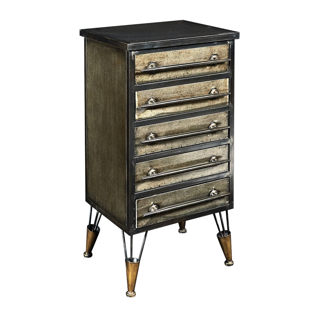 Cady Metal Chest Brown - Linon Cady Metal Chest Brown - Linon Pattern: Solid.