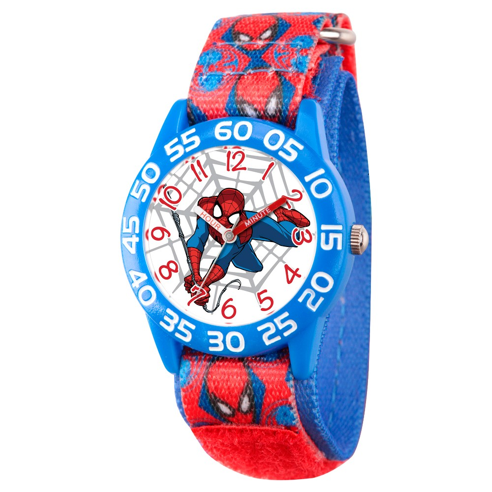 Boys' Marvel's Ultimate Spider-Man Blue Plastic Time Teacher Watch - Red