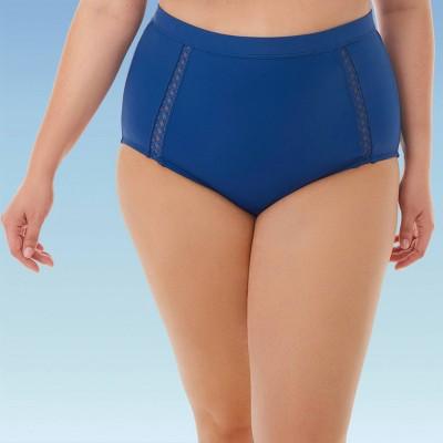 Women's Plus Size Slimming Control Mesh Inset High Waist Bikini Swim Bottom - Beach Betty By Miracle Brands