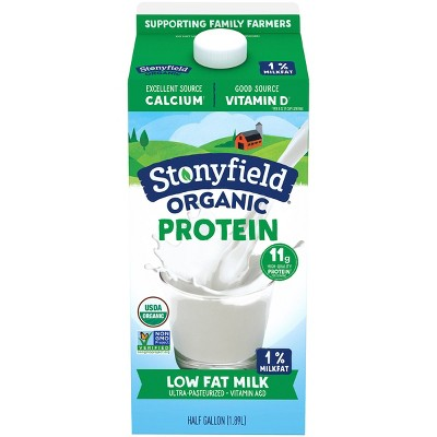 Stonyfield Organic 1% Milk - 0.5gal