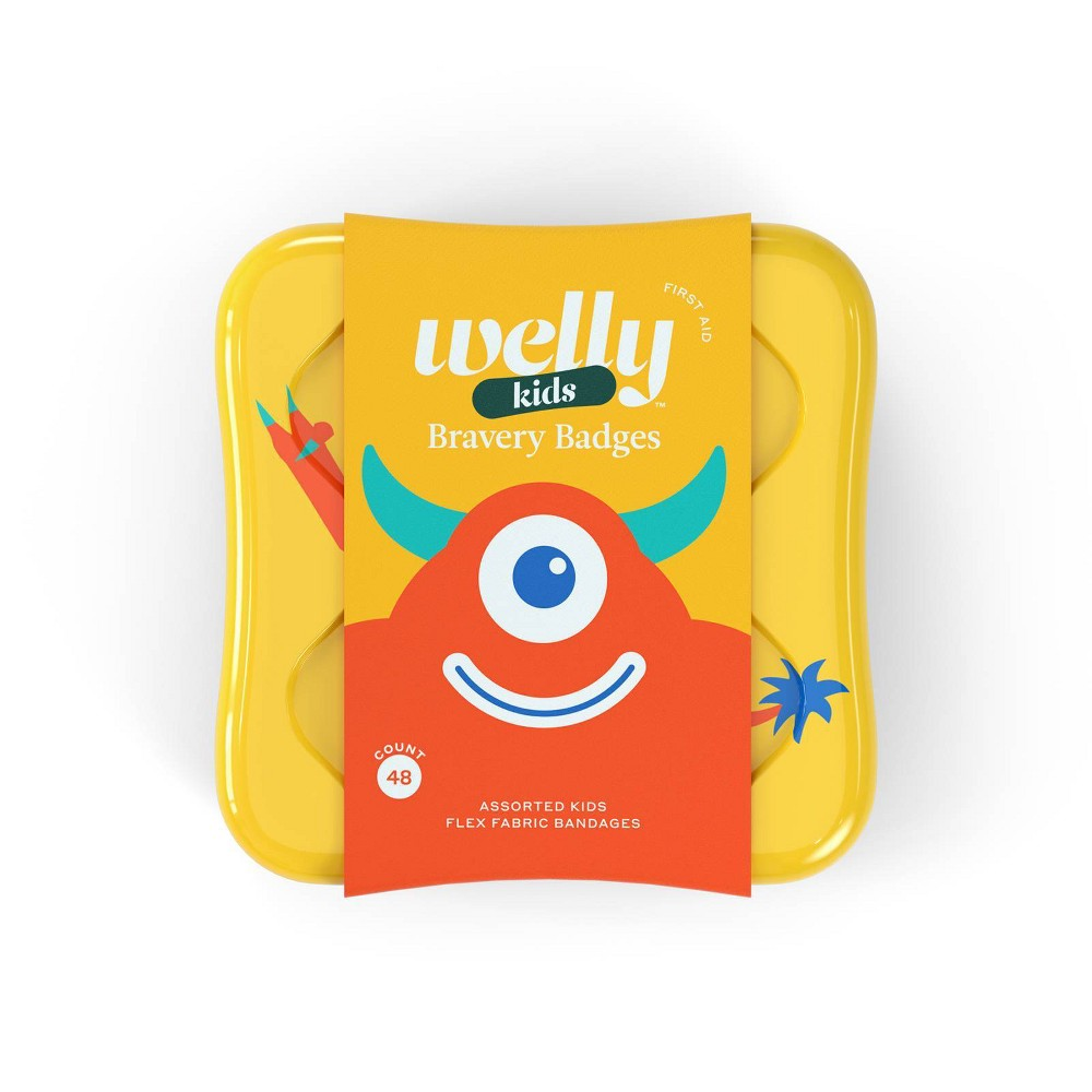 Welly Kids Bravery Badges Assorted Monster Flex Fabric Bandages 48ct