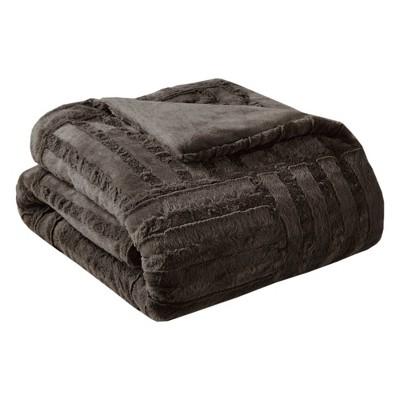 Chocolate Polar Solid Faux Fur Throw Blankets (50 x60 )