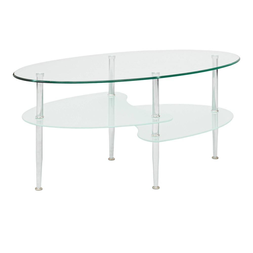 Glass Oval Living Room Metal Coffee Table - Saracina Home Reviews