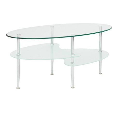 Glass Oval Living Room Metal Coffee Table - Saracina Home - image 1 of 4
