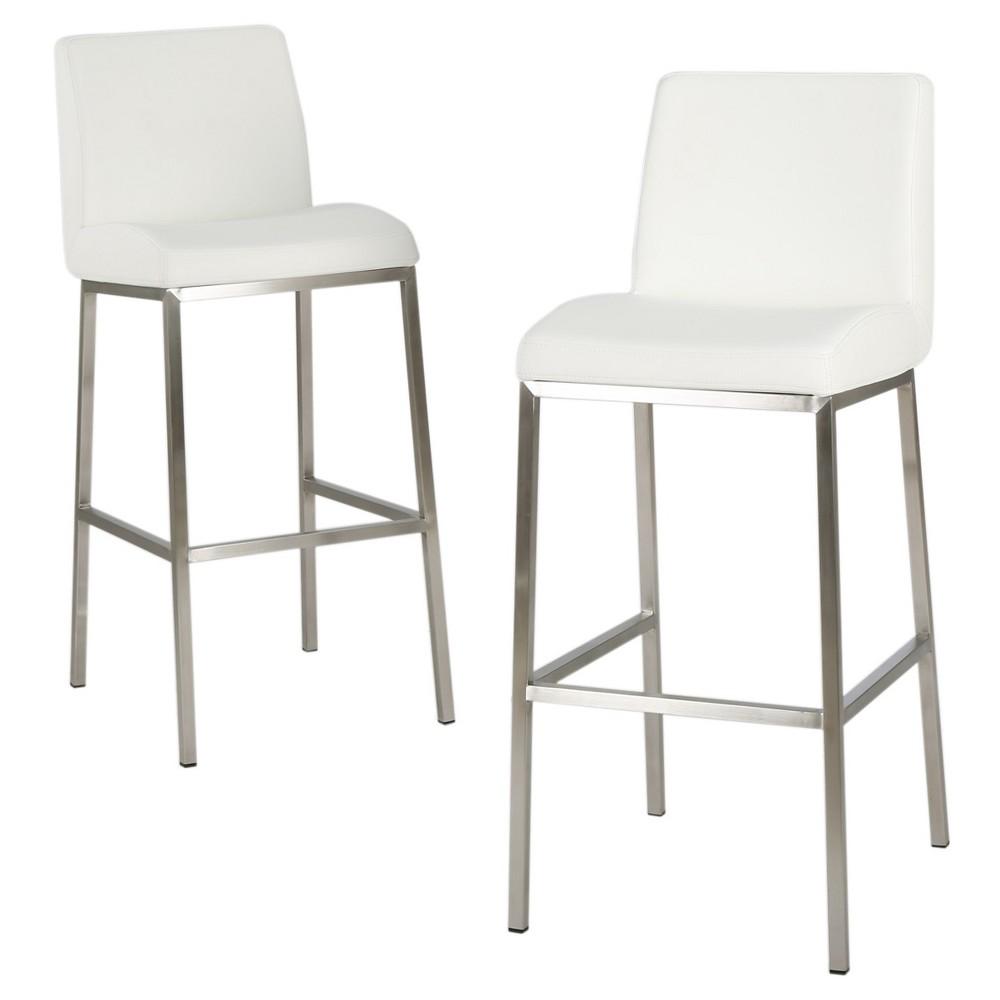 30 Vasos Bonded Leather Barstool - White (Set of 2) - Christopher Knight Home