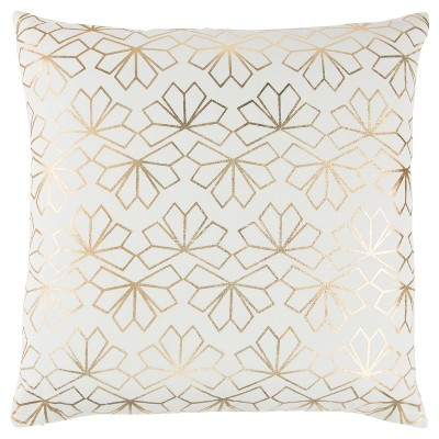 "20""x20"" Geometric Interlocking Crystal Throw Pillow Ivory/Gold - Rizzy Home"