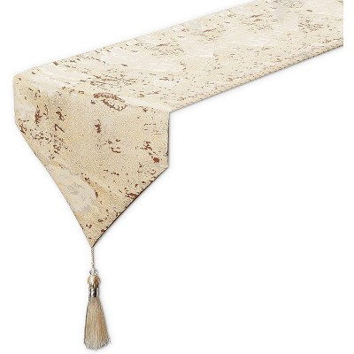 Dining Table Runner with Tassels, Beige Metallic Weave (12 x 78 Inches)