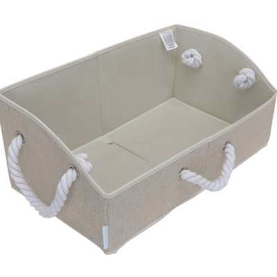StorageWorks Set of 2 30L Fabric Storage Bins with Cotton Rope Handles and Low Front Wall Beige