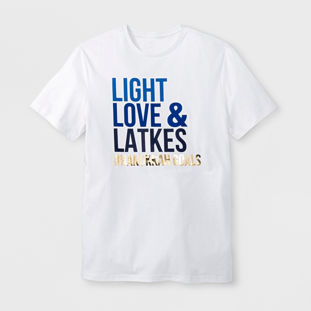 Men's Short Sleeve Hanukkah 'Light, Love & Latkes' Baseball T-Shirt - White M