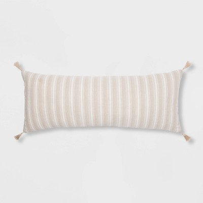 Oversized Oblong Texture Stripe Decorative Throw Pillow Natural - Threshold™