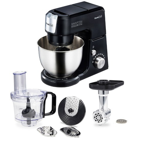 Geek Chef 2.6 Quart 500 Watt 7 Speed Head Tilt Planetary Spin Stand Mixer with Mincer Met Grinder & Food Processor Attachments - image 1 of 4