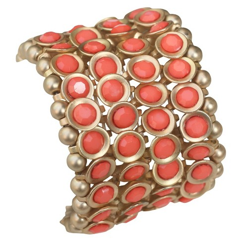 Zirconite Multi-Strand Bracelet with Bezel Crystals - Pink Coral - image 1 of 1
