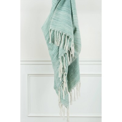 "50""x60"" Stripe Throw Blanket Aqua - Rizzy Home"