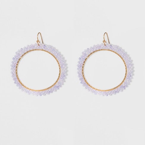 Open Hoop with Outer Beading Detail Earrings - A New Day™ Purple - image 1 of 3