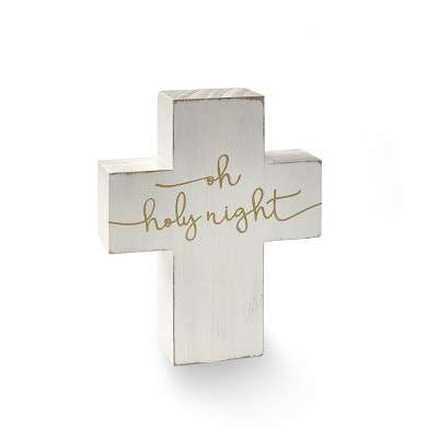 Lakeside Oh Holy Night Decorative Cross - Nativity Holiday Tabletop Accent