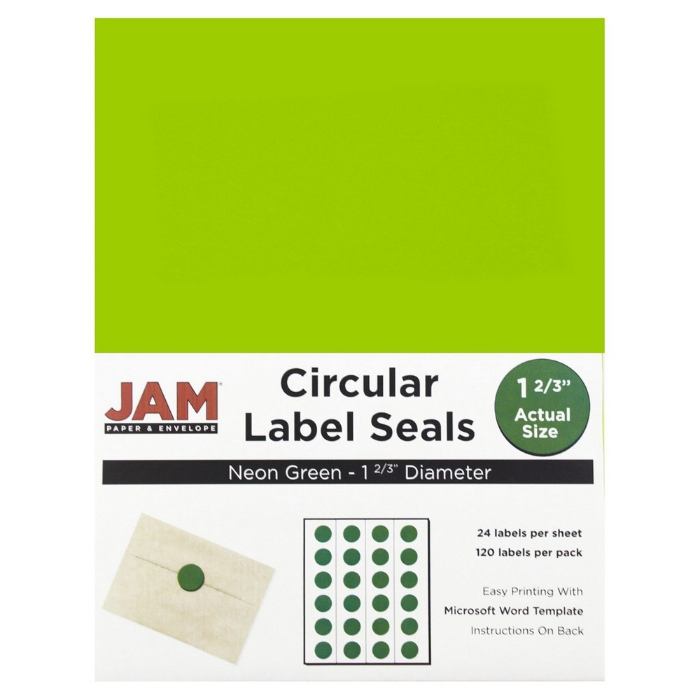 Jam Paper Circle Sticker Seals 1 2/3 120ct - Neon Green Jam Paper Round Circle Label Sticker Seals measure 1 2/3 inches in diameter and are sold on sheets of 24 labels. Each pack contains 5 sheets for a total of 120 labels per pack! These labels feature a light, soft, and inviting baby blue color that will give a peaceful and calm look to your mail. These labels are great for reinforcing envelopes, creating small price tags for yard sales, marking mail or items with initials, and more! Compatible with most printers, these labels can be customized in your own office or home. Additionally, they are easy to write on with most kinds of pens and markers. Try these round labels for your home or office needs. Color: Neon Green. Age Group: Adult.