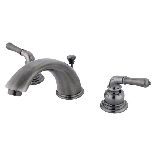 Widespread Two Tone Vintage Bathroom Faucet Nickel - Kingston Brass, Grey