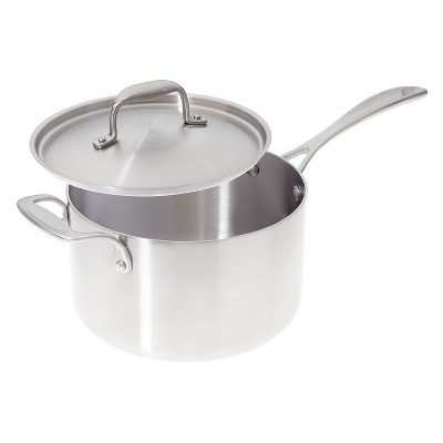American Kitchen Cookware Premium Stainless Steel Covered 4 Quart Saucepan