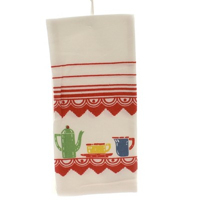 """Tabletop 24.0"""" Deco Good Morning Kitchen Towel Mcm Flour Sack 100% Cotton Red And White Kitchen Company  -  Kitchen Towel"""