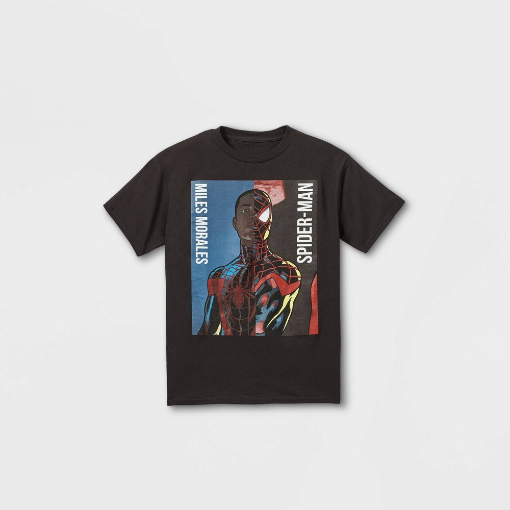Boys 39 Marvel Miles Morales Spider Man Short Sleeve Graphic T Shirt Black S