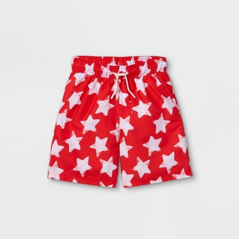Boys' Star Print Swim Trunks - Cat & Jack™ Red - image 1 of 2