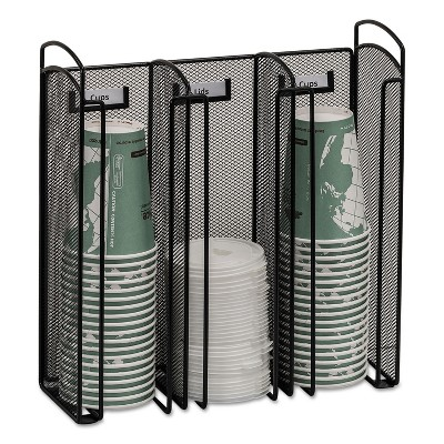 Safco Onyx Breakroom Organizers 3Compartments 12.75x4.5x13.25 Steel Mesh Black 3292BL