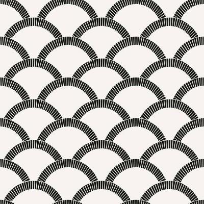 Tempaper Mosaic Scallop Self-Adhesive Removable Wallpaper Black/Cream