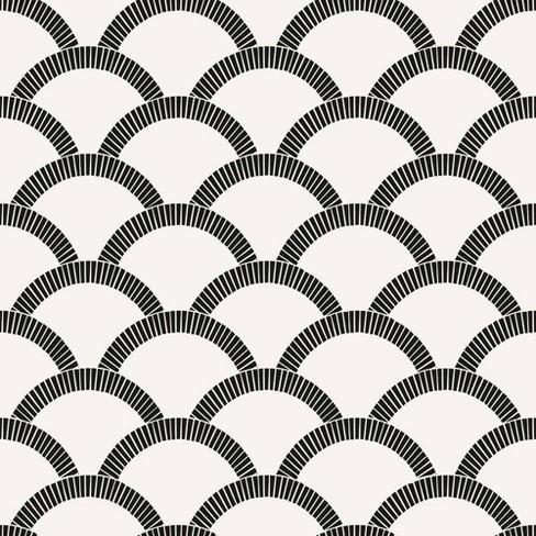 Tempaper Mosaic Scallop Self Adhesive Removable Wallpaper Black Cream Target